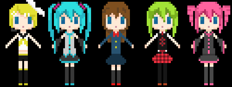 Marie-chan in her school uniform (center) and dressed as Rin Kagamine, Miku Hatsune, GUMI, and Teto